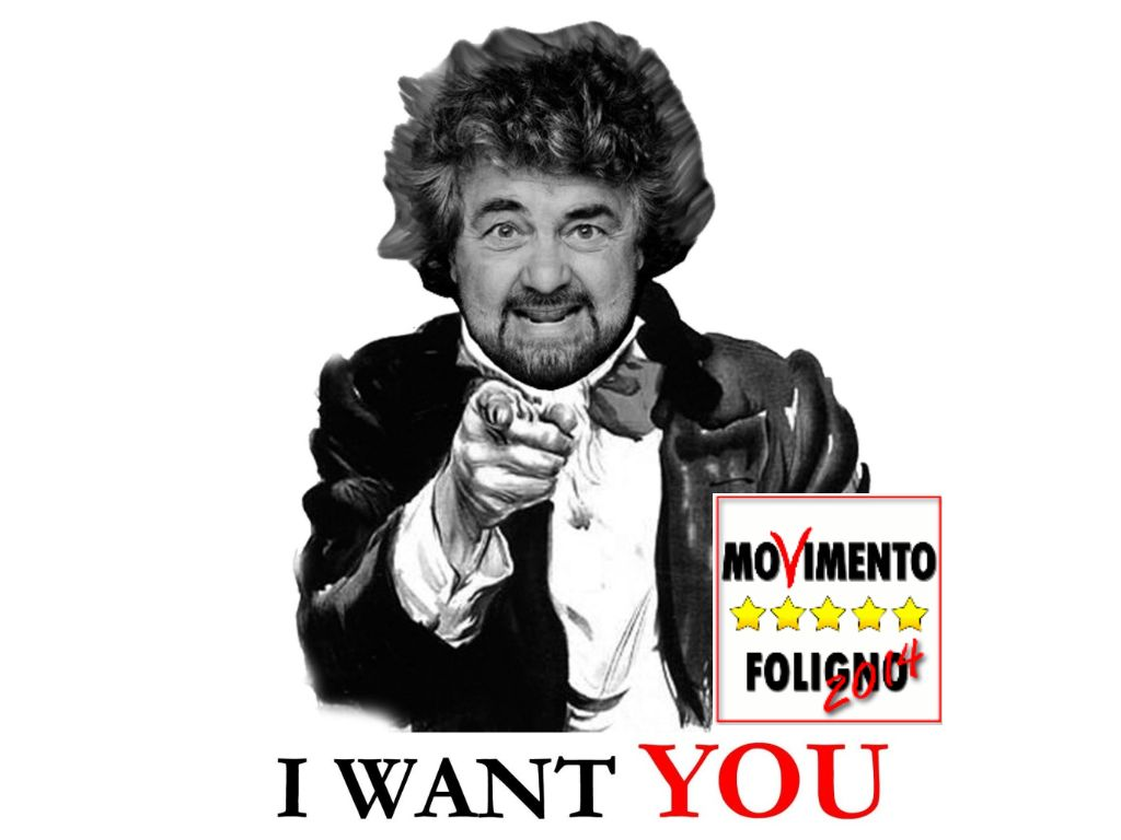 "Immagine di Beppe Grillo con ""I Want You"""